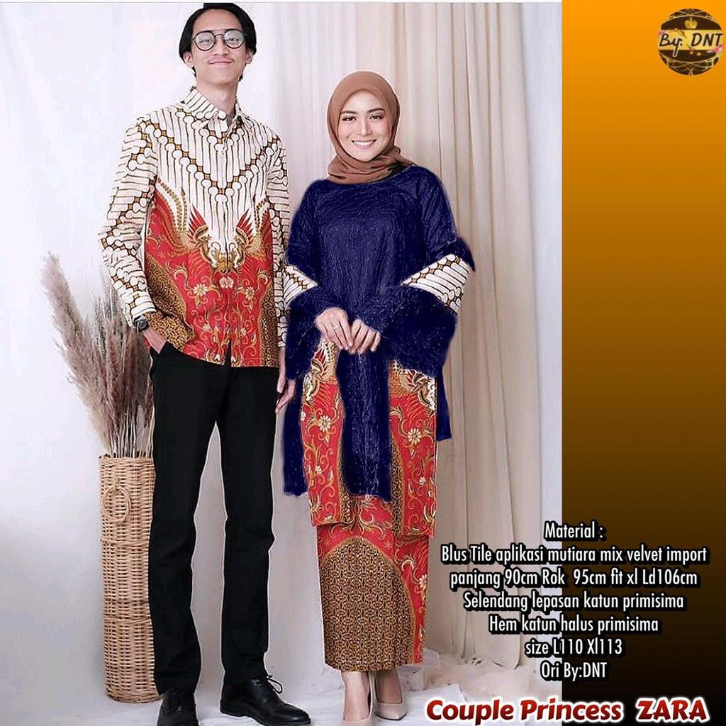 Zola_Batik Batik Couple Brokat Selendang Princess Zara New High Quality -  Seragam Batik Brokat Zara