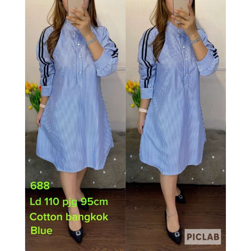 688.Tunik cotton bangkok motif salur⭐