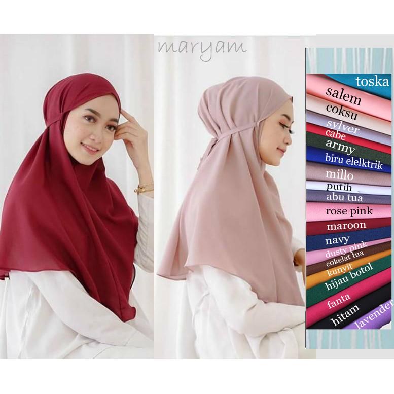 Bergo Maryam Non Pet Tali Khimar Diamond Instan Hijab Italiano Jilbab Banyak Warna Seluruh Indonesia Shopee Indonesia
