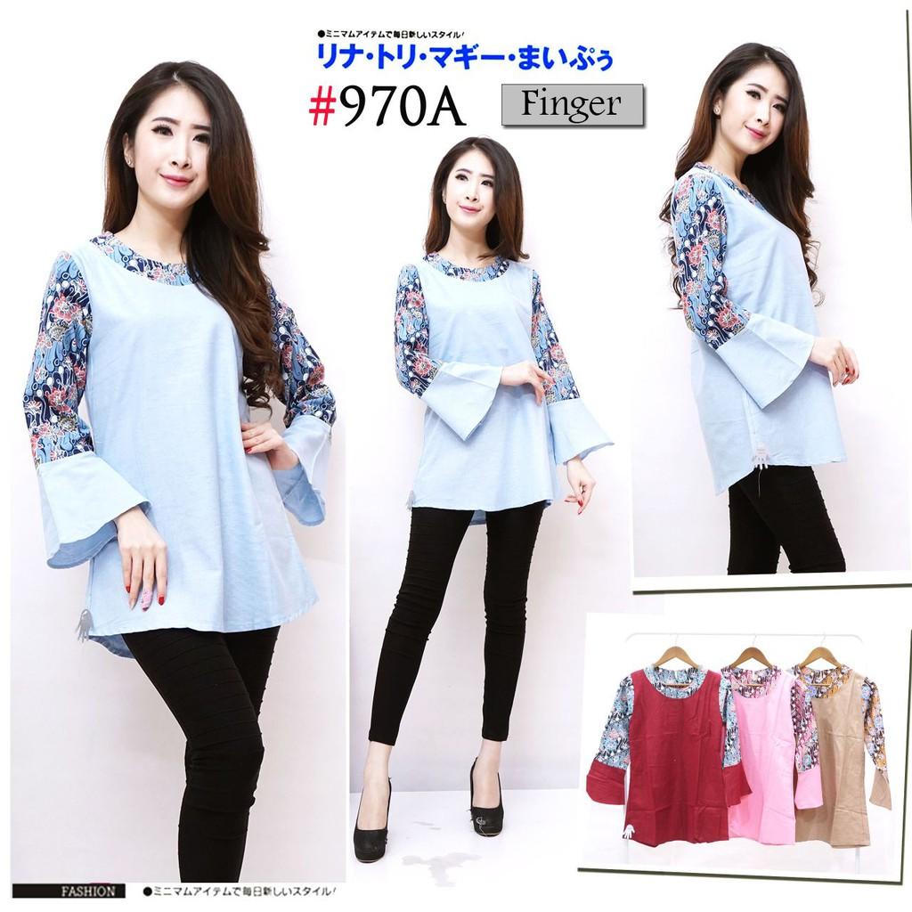 blouse atasan batik peplum kombinasi lengan terompet model terbaru semi  formal simple murah  974ef198a4