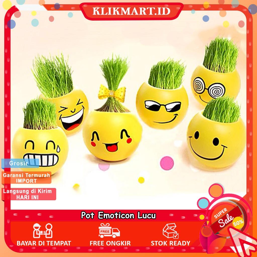 Km 196 Pot Bunga Karakter Mini Motif Emoticon Lucu Untuk Dekorasi Rumah Pot Emoticon