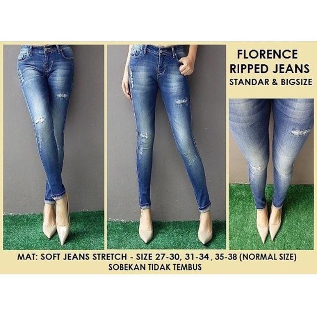 Celana Jeans Wanita Florence Ripped Sobek Tidak Tembus Stretch Murah | Shopee Indonesia