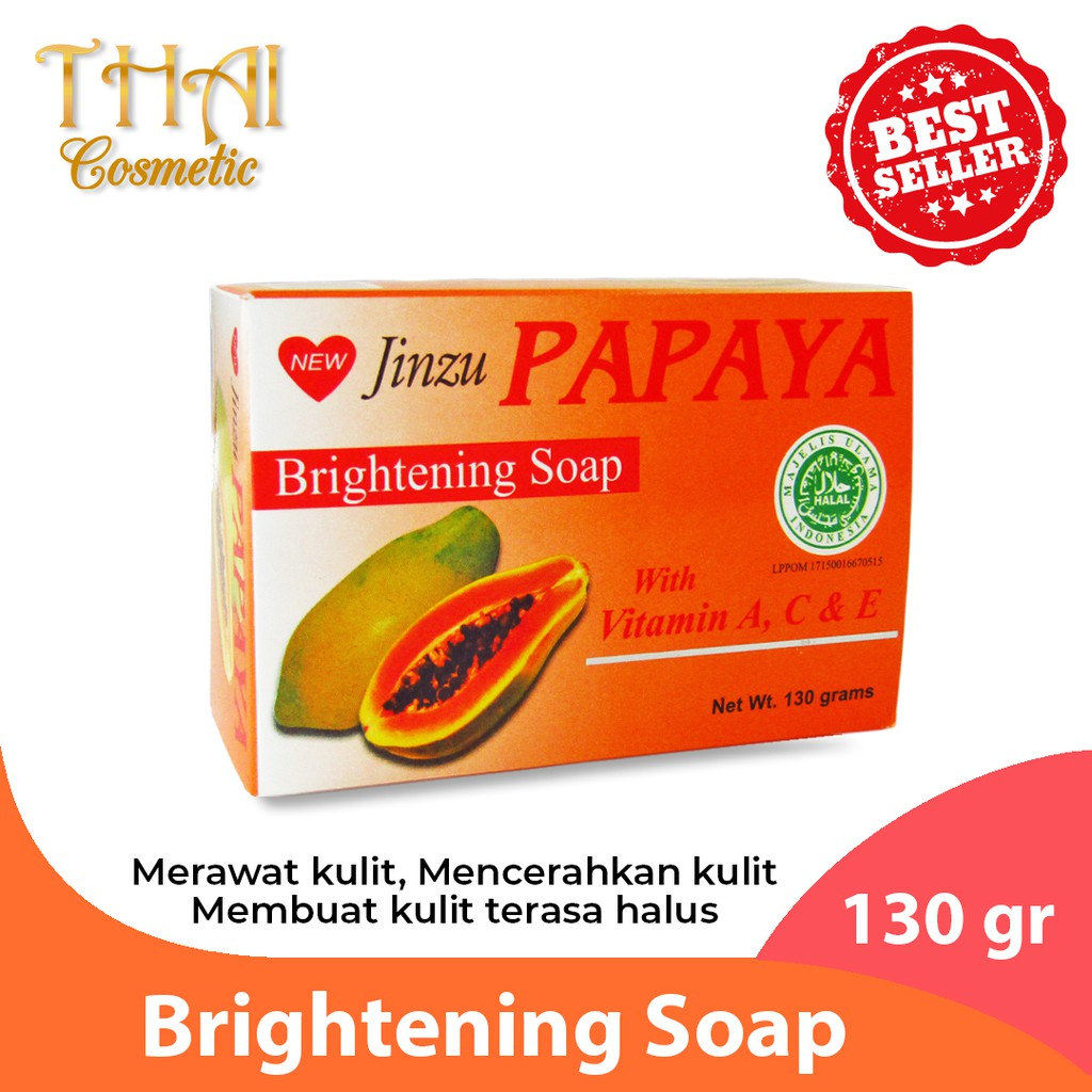 Jinzu Sabun Papaya Brightening Soap With Vitamin E 130 Gram Shopee Indonesia
