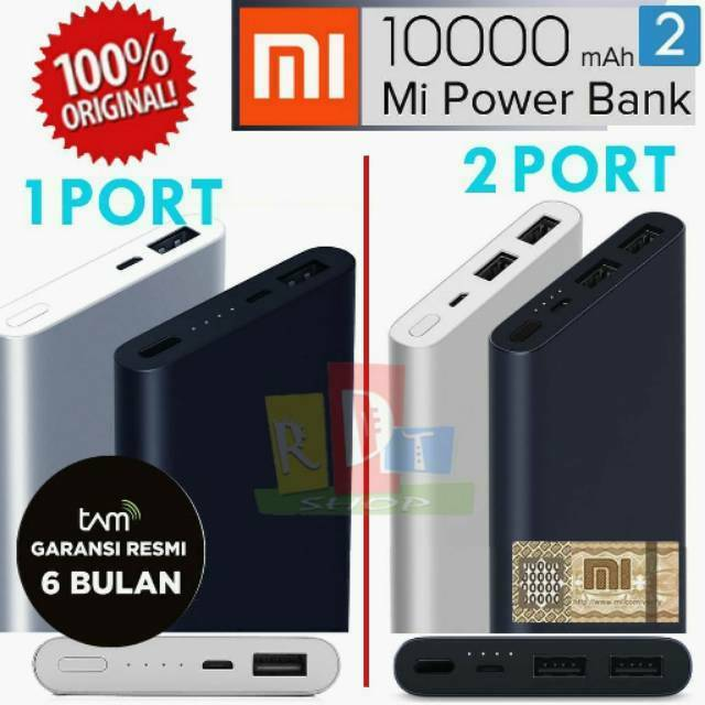 Xiaomi Mi PowerBank New 2 10000mAh With 2 USB Port Quick Charge | Shopee Indonesia