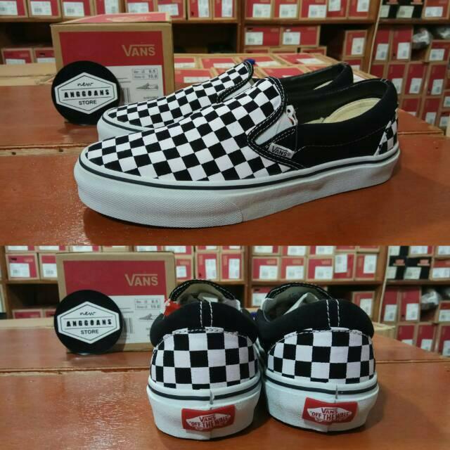 Sepatu Vans Slip On Checkerboard Catur Black White Hitam Putih