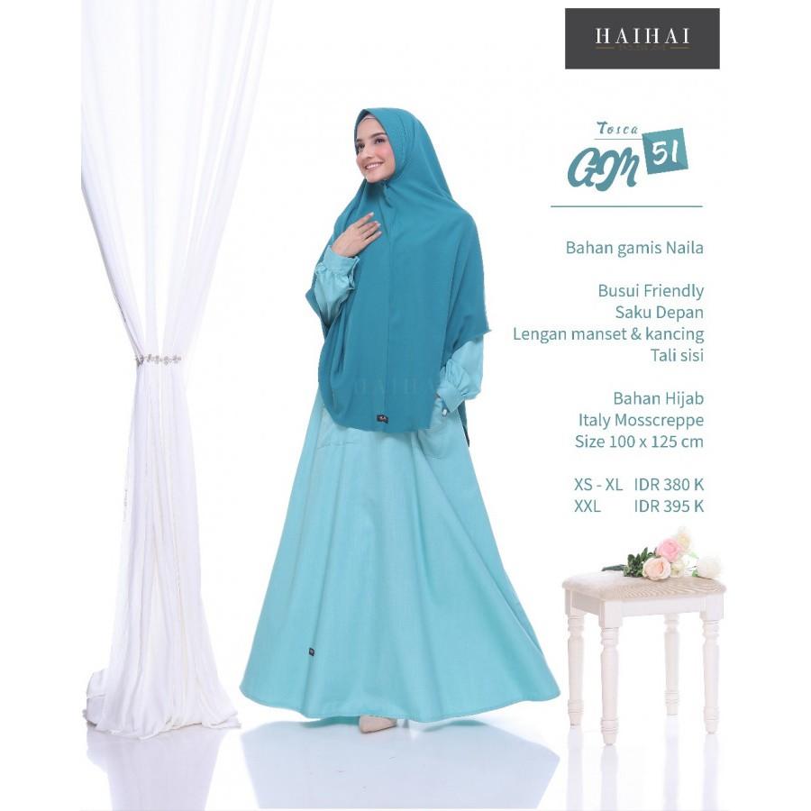Gamis Hai Hai Gm 51 Tosca Syar I Set Hijab Dewasa Premium Fashion Muslimah Shopee Indonesia