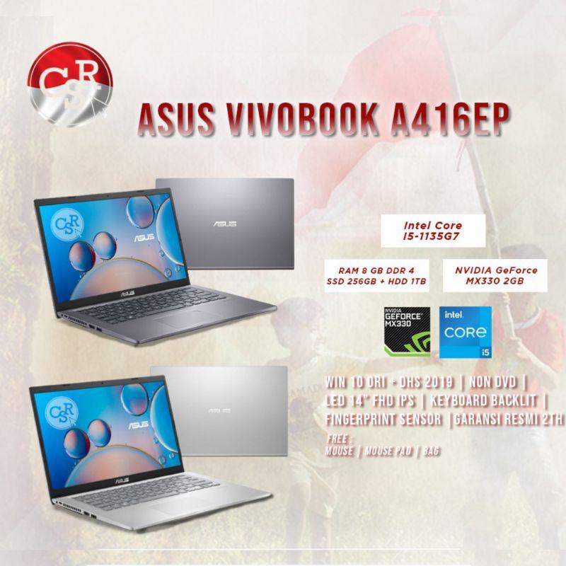 LAPTOP ASUS A416EP INTEL CORE I5-1135G7 RAM 8GB HDD 1TB+SSD 256GB VGA NVIDIA MX330 2GB 14 FHD IPS