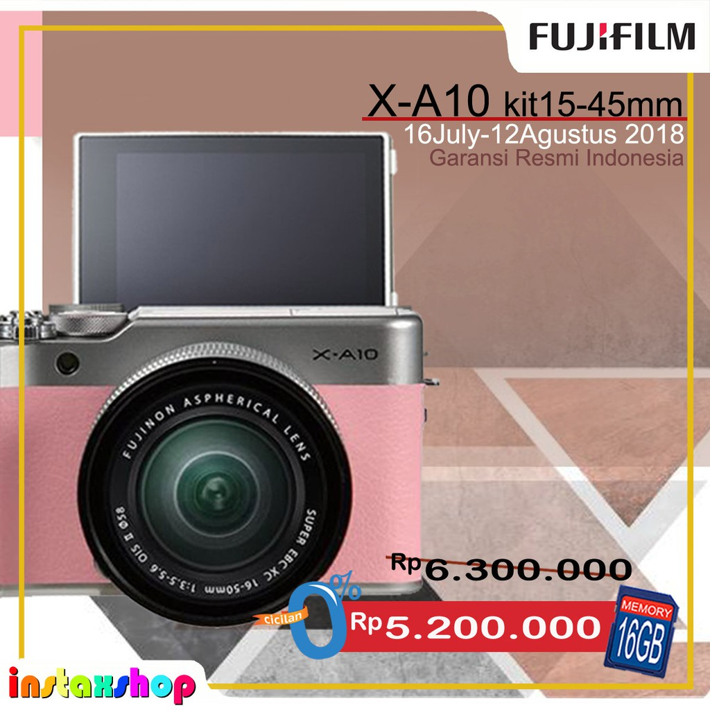 Fujifilm Xa10 X A10 Kit 16 50mm Pink Shopee Indonesia A3 Xc F 35 56 Ois Ii Pwp Xf35mm F2