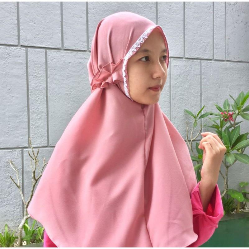 Bergo Tali Kriwil Bergo Renda Muka Tali Kriwil Shopee Indonesia
