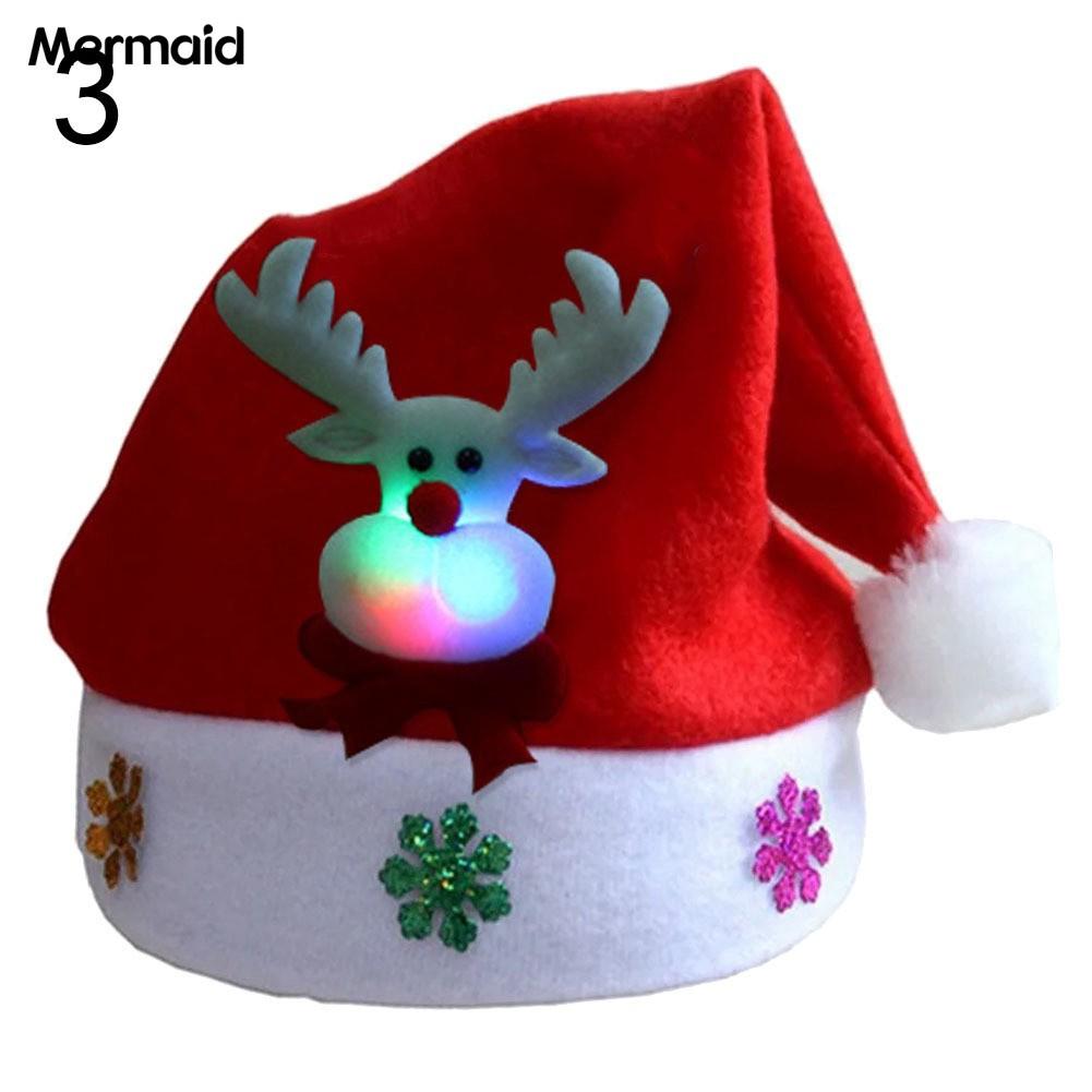 Christmas Light Up Unisex Adult Santa Claus Christmas Holiday Hat