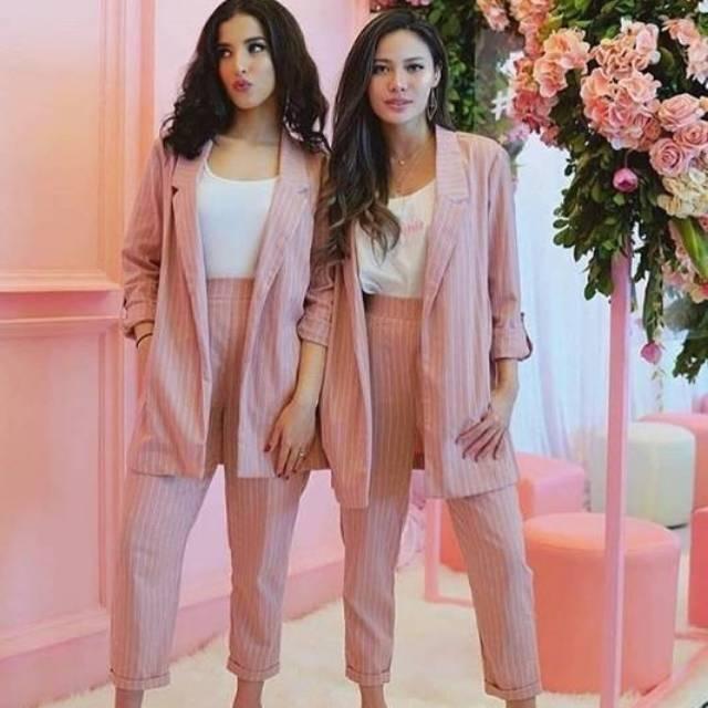 Belle Fashion Baju Cardigan Stripe Lengan Panjang Cardi Veta | Shopee Indonesia