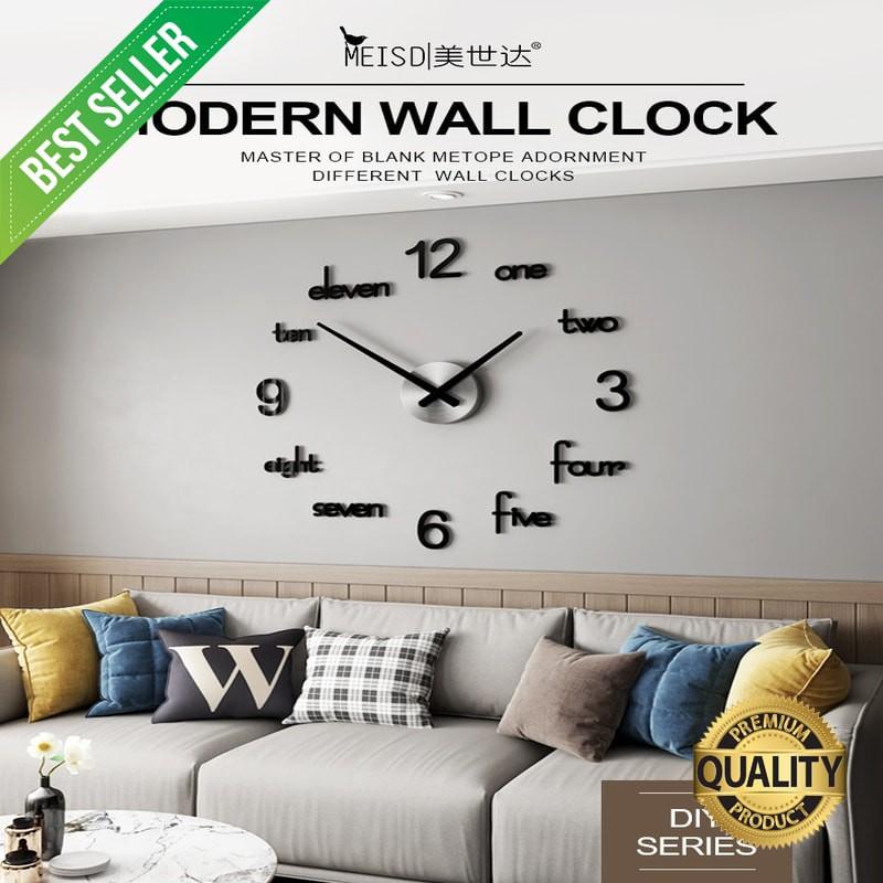 Meisd Large Wall Clock Modern Design Wall Sticker Watch Silent Quartz Clock Living Room Acrylic Shopee Indonesia