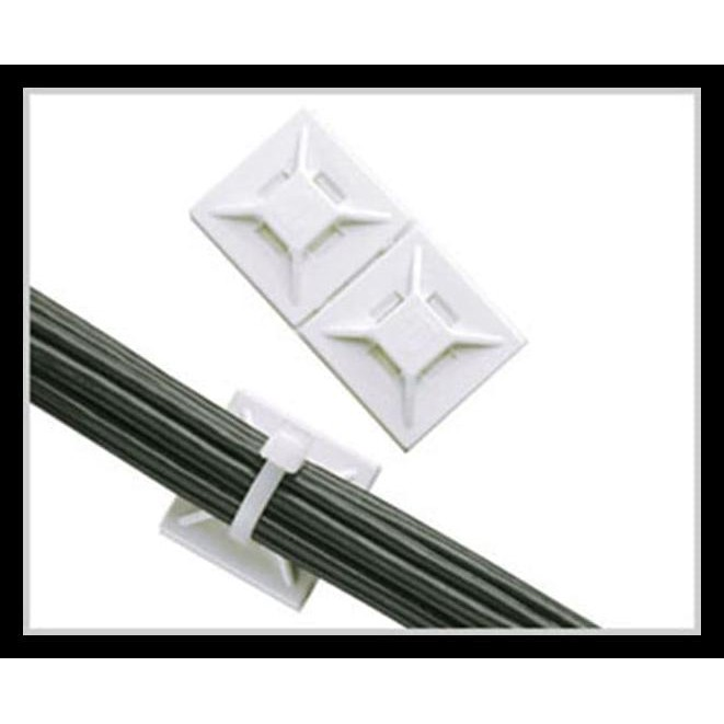Black & White Self Adhesive Cable Tie Wire Zip Clamp Mounts Clips Holder Base