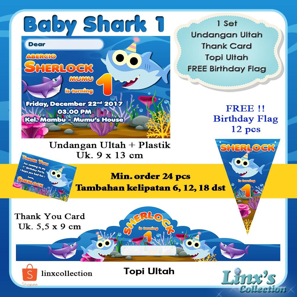 1 Set Undangan Ultah Anak Kartu Souvenir Topi Ulang Tahun Baby Shark Shopee Indonesia