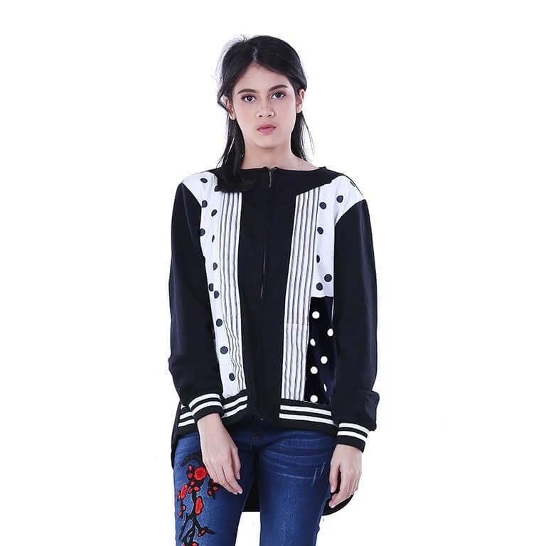 HURRICANE POLKA BW Women Sweater Jaket Hoodies Distro Wanita Hitam H 2680 murah asli ori original