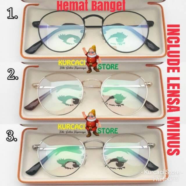 Frame Kacamata Bulat Retro Pria Wanita Murah   Kacamata Round Classic  Vintage Bisa Pasang Minus  345ec5d38f