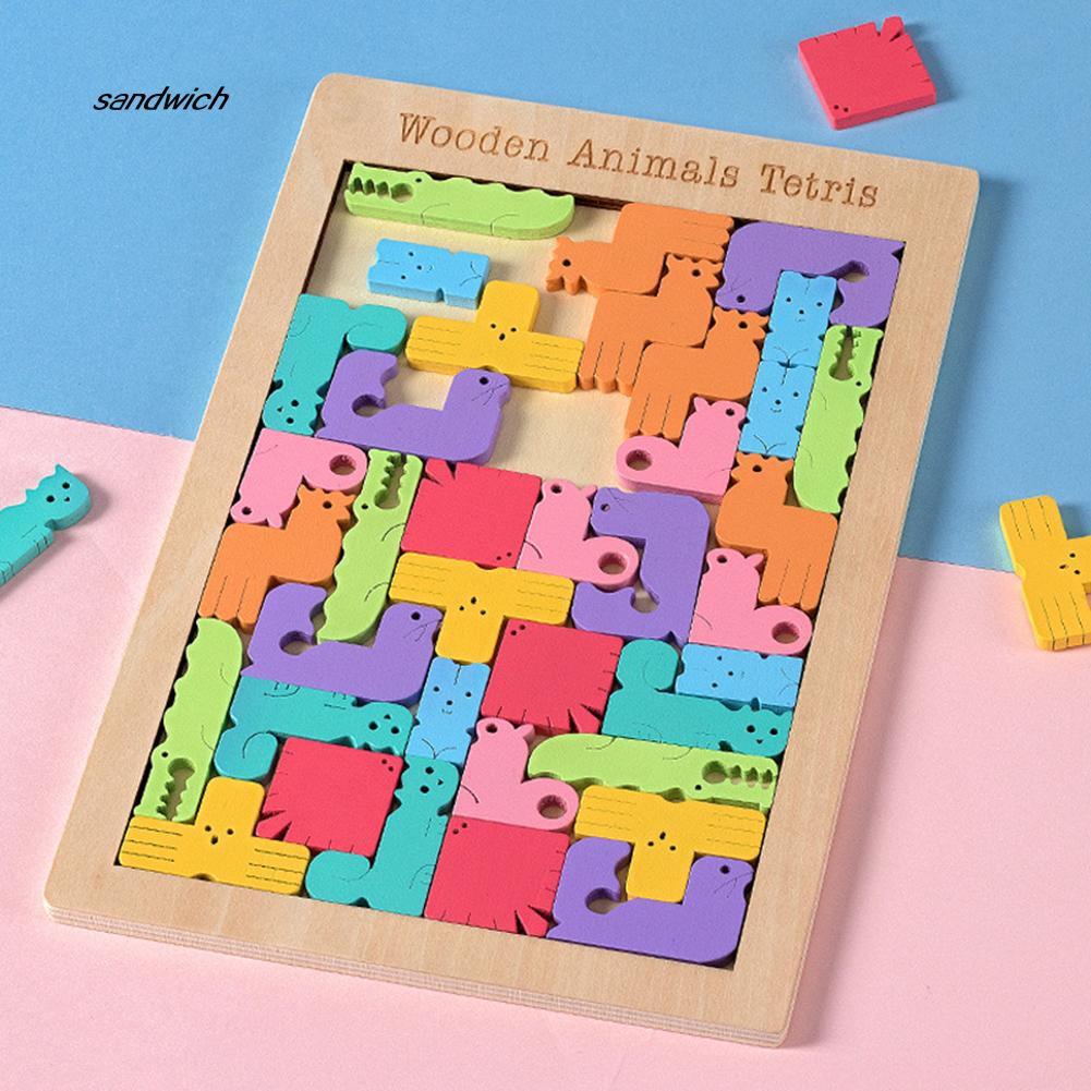 - Sdwc Mainan Puzzle Jigsaw Tangram Tetris Kartun Bahan Kayu Untuk