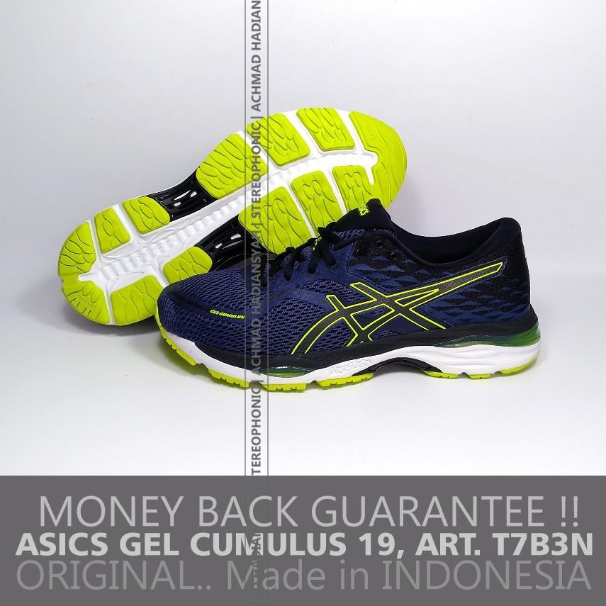 ORIGINAL 100% ASICS Gel Cumulus 19 T7B3N Sepatu ASICS Running Shoes ASICS  Navy Green Stabillo  0663d6c617