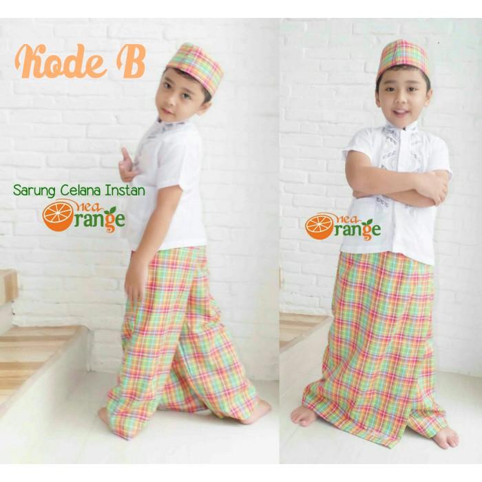 Paket Baju Koko anak laki-laki muslim sarung celana dan peci Nea Orange | Shopee Indonesia