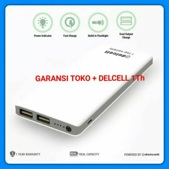NO DELCELL NOTE |NEW POWERBANK DELCELL ECO 10000MAH SLIM ORIGINAL - Putih | Shopee Indonesia