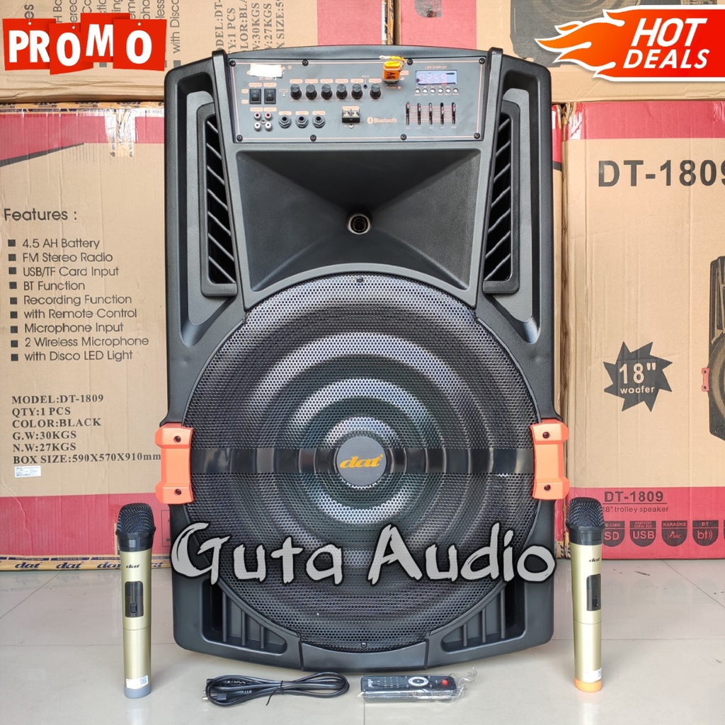 Speaker Bluetooth 18 inch DAT DT 1809 Bonus 2 Mic Wireless