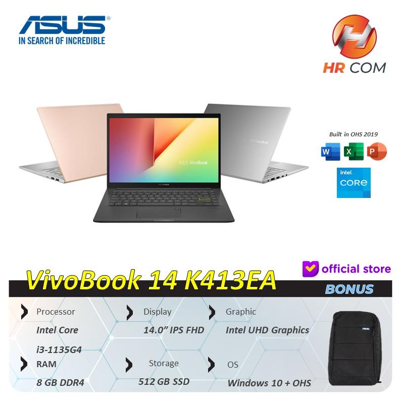 "Asus Vivobook 14 K413EA i3 1115G4 8GB 512ssd Win10+OHS 14.0""FHD"