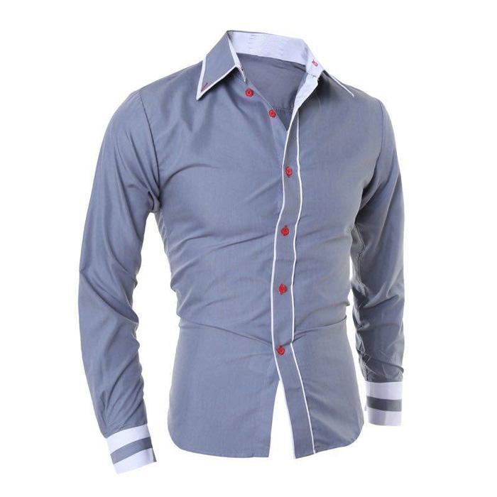 hem boston OT pakaian pria kemeja slim fit warna biru muda dan putih | Shopee Indonesia
