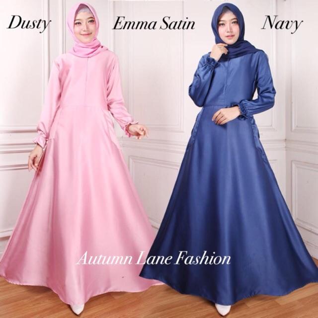 Pc Emma Satin Polos Dusty Navy Mustard Gamis Dress Wanita Pakaian Muslim Bahan Satin All Size