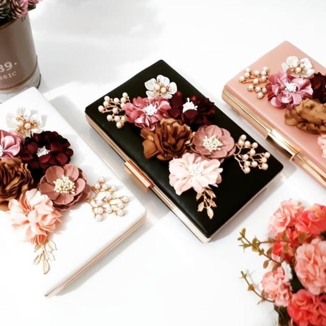 Tas Pesta EVANGELINE Flower Clutch Box | Shopee Indonesia