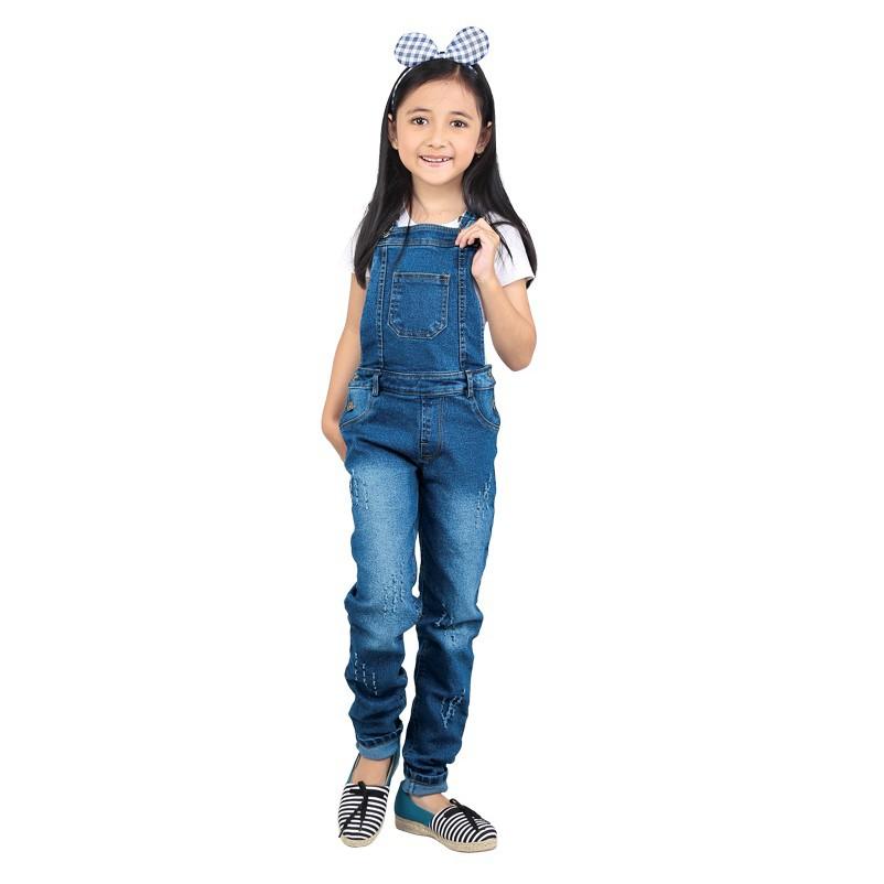 Jumpsuit Celana Panjang Baju Kodok Anak Perempuan SD Overall 8 9 10 11 12  tahun Denim CN04 Jeans  6a14bc28c0