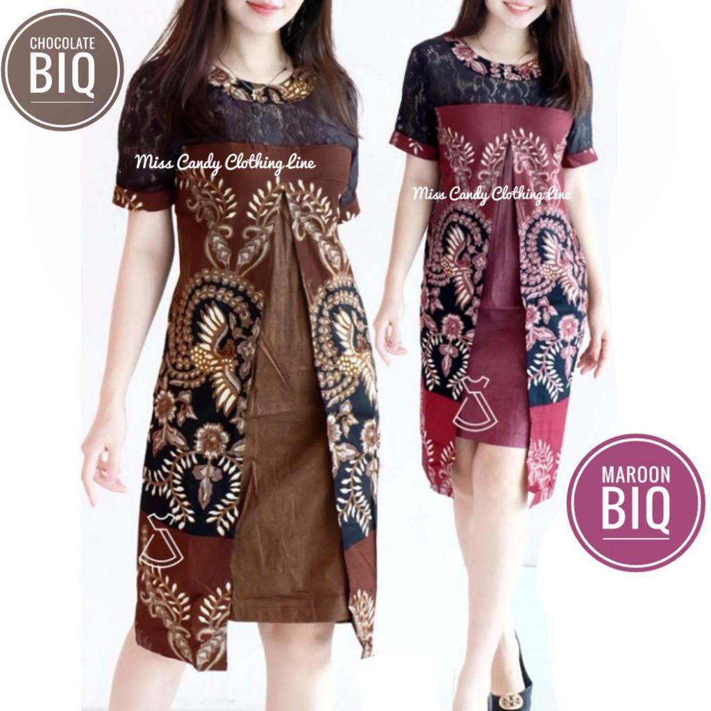 Dress Batik Modern Kombinasi Brokat / Dress Batik Kerja Kombinasi Brokat