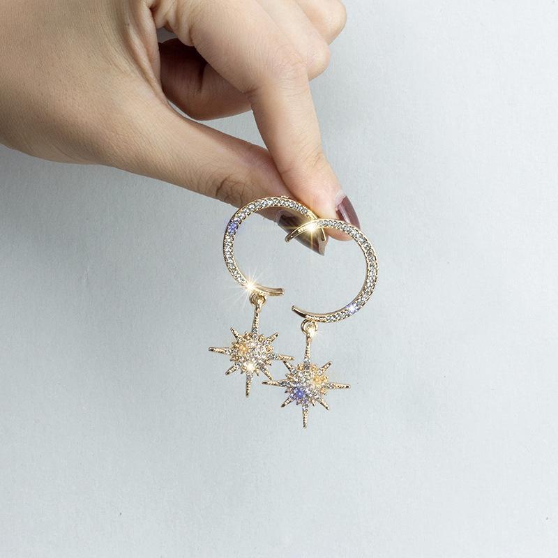 Price Checker Anting-Anting Jarum Perak Set Anting-Anting Berlian Bintang Bulan Liontin Asimetris