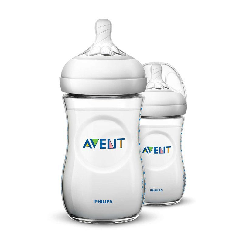 Botol Susu Bayi Philips Avent Natural Bottle Twin Putih 260ml SCF693/23