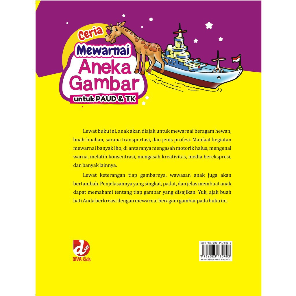 Buku Ceria Mewarnai Aneka Gambar Untuk PAUD Dan TK Diva Press
