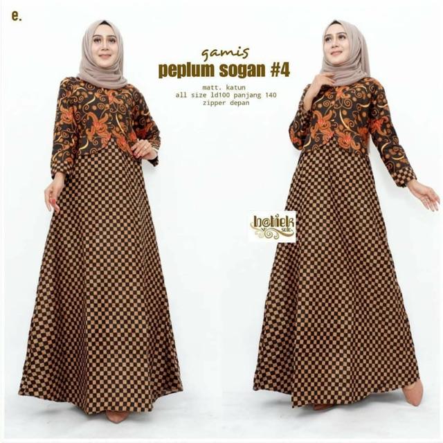 Gamis Batik Sogan Modern Simpel Elegan Dress Kekinian Terbaru Syari