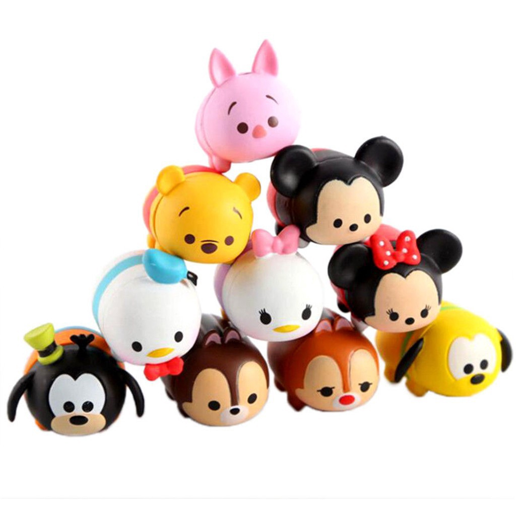 Set 10 pcs Mickey Minnie Donald Daisy Pluto Winnie Tsum Tsum Action Figures Gift