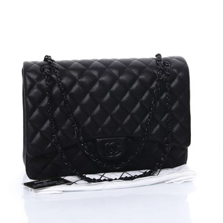 1fe69ed2008eea BRANDED TAS MURAH Tas Chanel Classic Flap Maxi So Black Quilted Caviar HITAM  Seprem 1119 | Shopee Indonesia