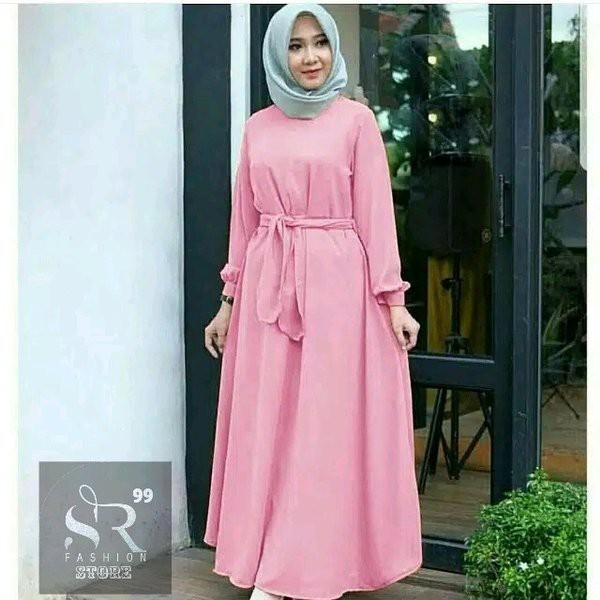 Baju Gamis Wanita Dewasa Syari Baju Busana Muslim Arabian Maxy Dress Polos Fashion Gamis Muslimah Shopee Indonesia