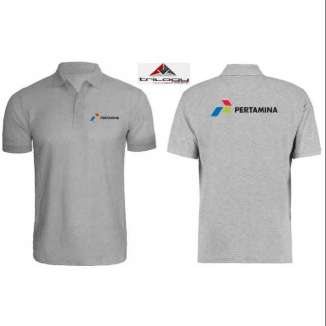 Kaos Polo Pertamina Sablon Depan Belakang Logo Pertamina Shopee Indonesia