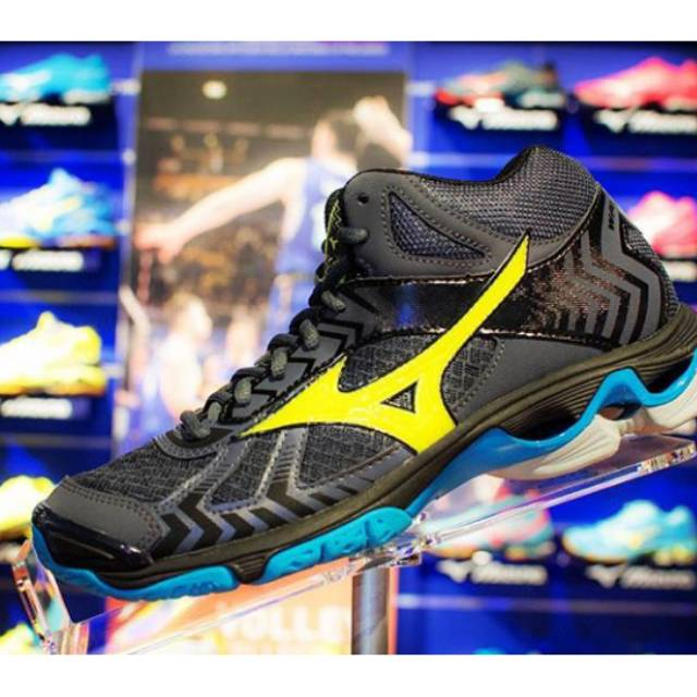SEPATU VOLI MIZUNO WAVE BOLT 7 MID ORIGINAL TERBARU 2018 OMBRE BLUE    SAFETY YELLOW  dccdaa14e6