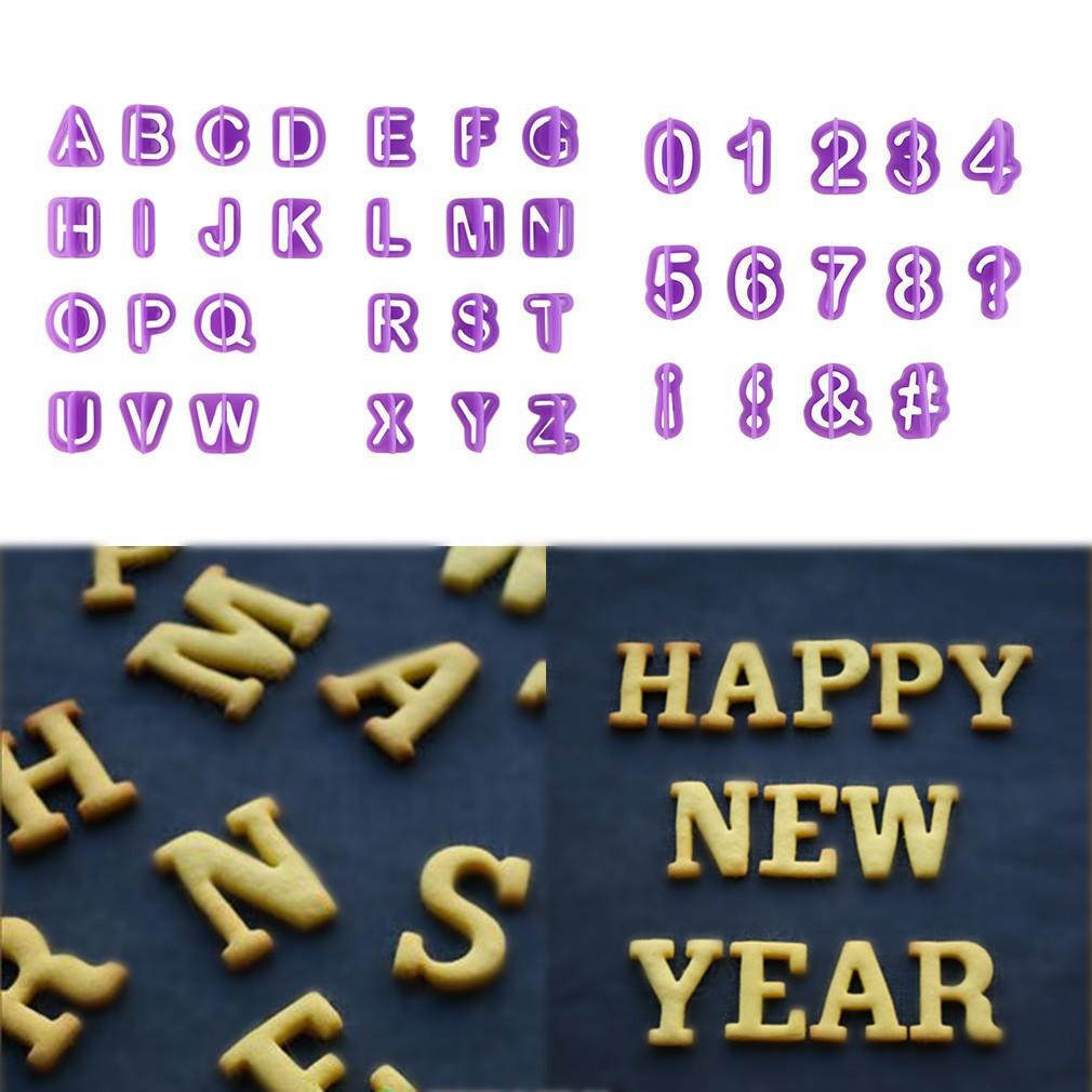 [Bayar Di Tempat]Cetakan Kue Fondant: Bentuk Alfabet Nomor Dan Huruf 40Pcs