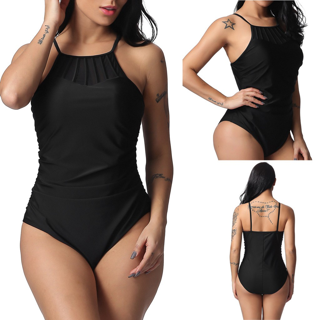 Women S Large Size Beach Swimsuit Split Conservative Swimsuit T Shirt Print High Shopee Indonesia