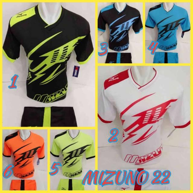 Baju kaos olahraga jersey bola setelan futsal / volly mizuno 16 hitam biru | Shopee Indonesia