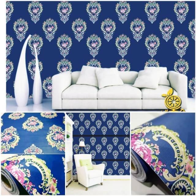 Wallpaper Dinding Terbaru Terlaris Biru Tua Motif Batik