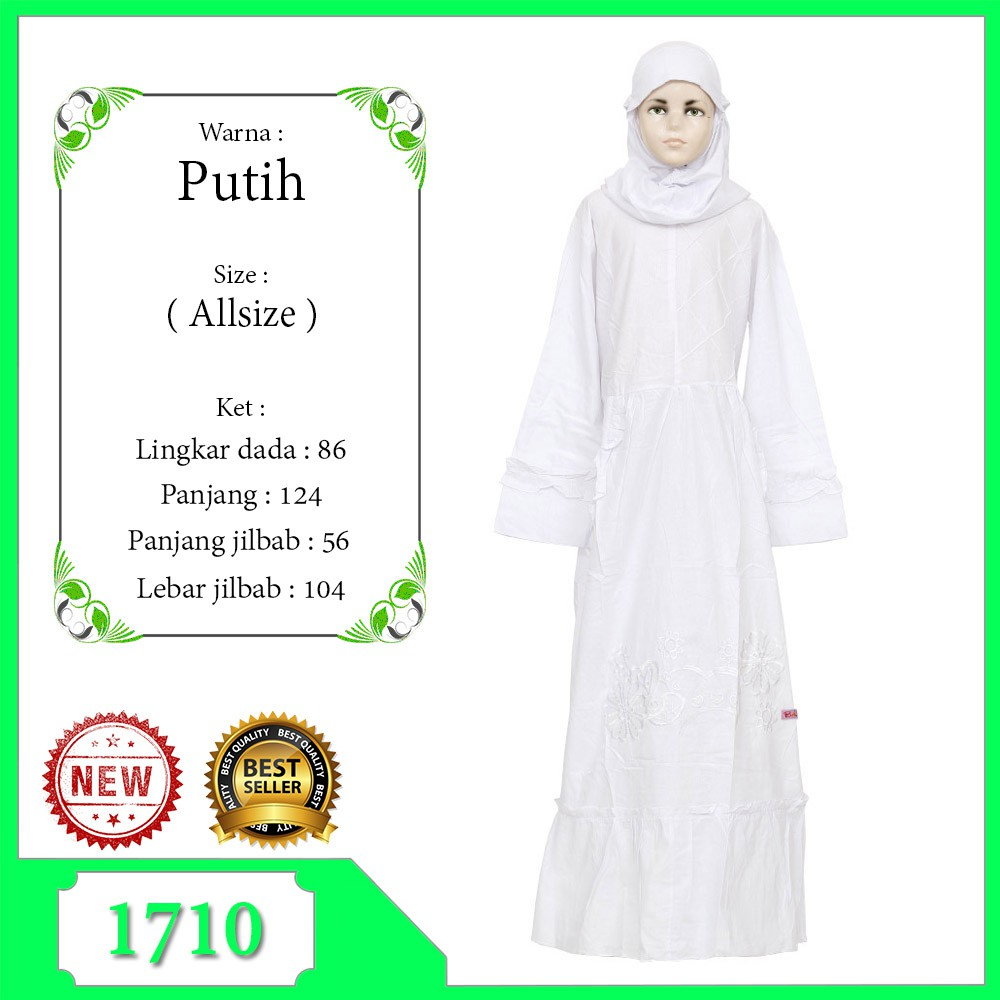 Baju Muslim Gamis Anak Perempuan Warna Putih Anak Tanggung 11-11 Tahun