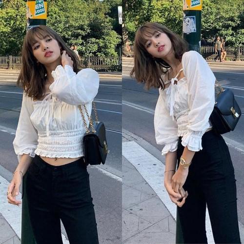 Blackpink Lisa Style Korea Chic Gadis Casual Puff Sleeves Pendek Fashion Wanita Atasan Shopee Indonesia