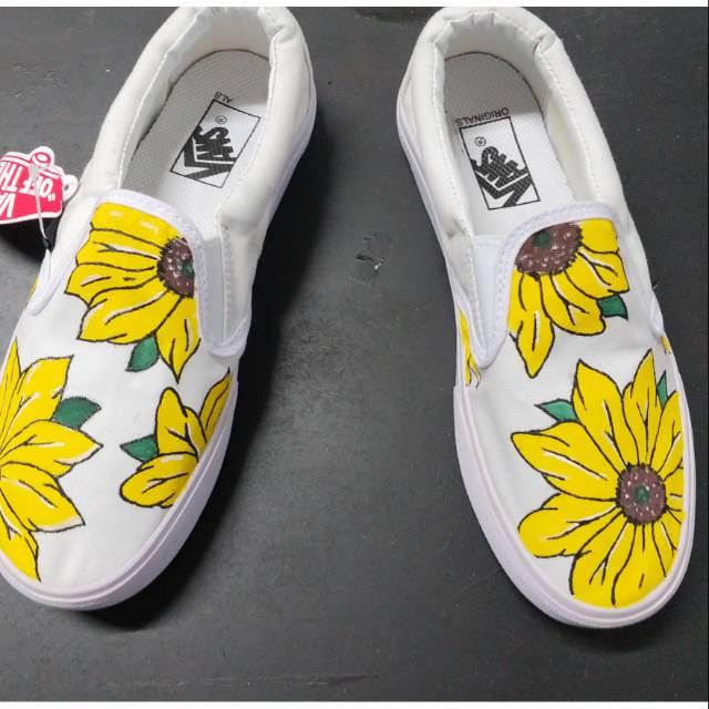 Sepatu Vans Slip On Lukis Custom Bunga Matahari Shopee Indonesia