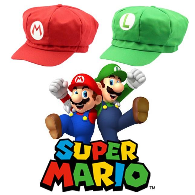 Topi Mario Bros Super Luigi Nintendo Game Cosplay Anime Cap Hat Merah Hijau  Red Green Putih White | Shopee Indonesia