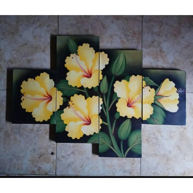 Lukisan Bunga Kembang Sepatu Kuning Shopee Indonesia