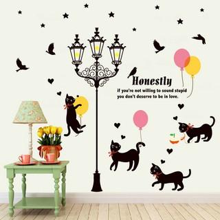 Kartun Kucing Lampu Jalan PVC Dinding Jendela Sticker Dekorasi Decals Stiker I365 Icor